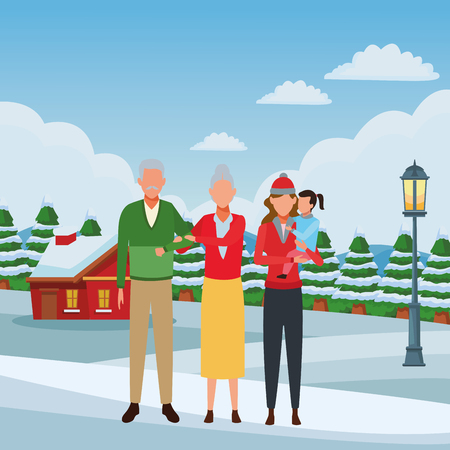 family avatar cartoon character grandparents mother child wearing winter clothes snowing town lanscape vector illustration graphic design