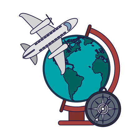 Vacations and travel airplane jet and world globe with compass vector illustration graphic design vector illustration graphic design