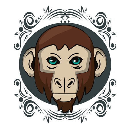 Monkey face cool sketch on antique round frame vector illustration graphic design Illustration