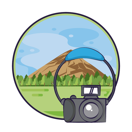 Traveling tourism exciting trip nature landscape camera card round frame background vector illustration graphic design