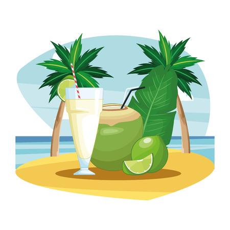 coconut beverage icon cartoon beach landscape vector illustration graphic design Ilustração