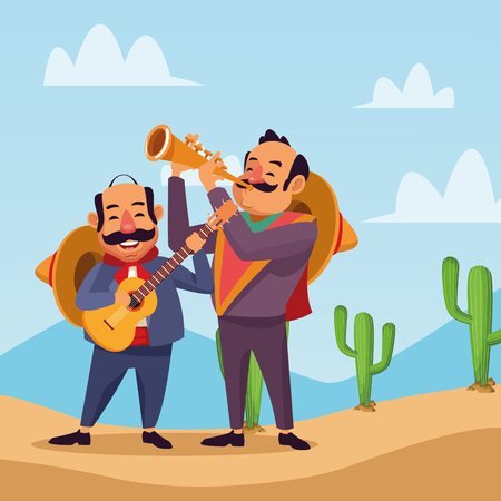 Mexicans celebrating in desert cartoons vector digital image illustration Vectores