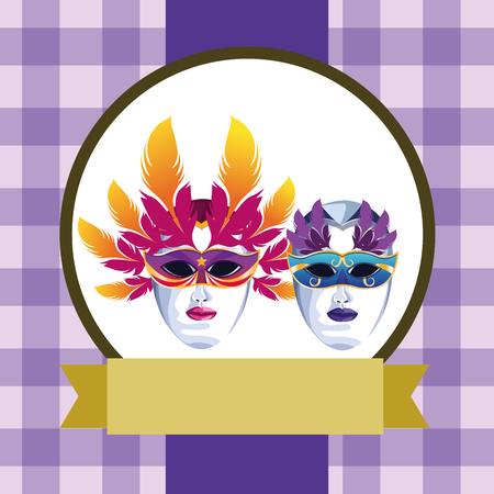 masks with feathers icon cartoon checkered pattern round icon with ribbon vector illustration graphic design Ilustrace
