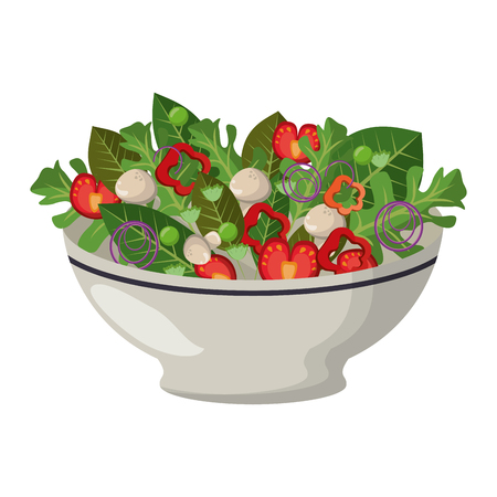 Healthy salad with vegetables in bowl vector illustration graphic design