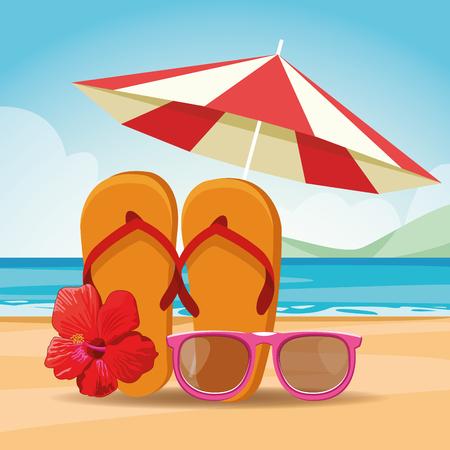 sandals sunglasses and umbrella beach landscape icon cartoon vector illustration graphic design Stock Illustratie