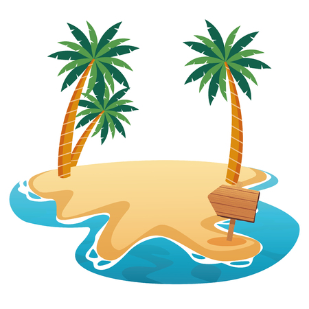 Beautiful beach with palms and wooden sign scenery vector illustration graphic design