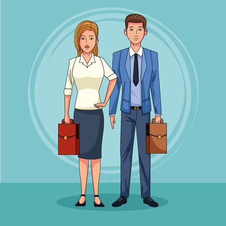 Businessman and businesswoman couple cartoon vector illustration graphic design Stock fotó - 122741792