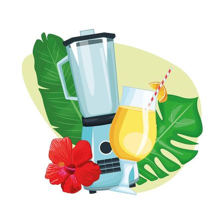 tropical drink with umbrella and mixer icon cartoon vector illustration graphic design
