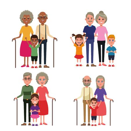 Grandparents with kids grandson and granddaughter vector illustration graphic design