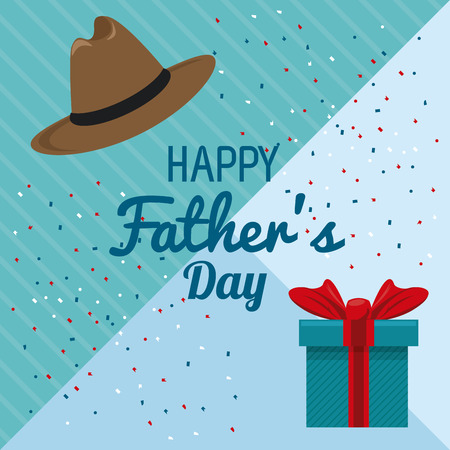 Happy fathers day card with cute cartoons vector illustration graphic design Фото со стока - 122741861