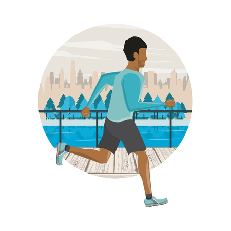 Fitness man running in the park round scenery vector illustration graphic design Ilustração