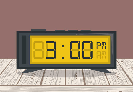 Clkcl digital alarm on table brown background vector illustration graphic design