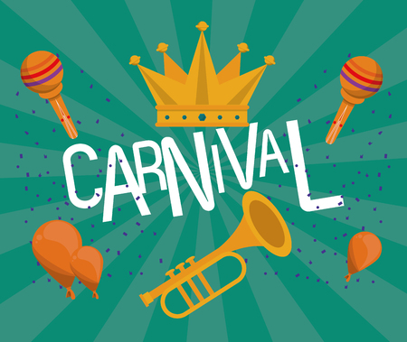 Carnival festival card banner with cartoons vector illustration graphic design Фото со стока - 122741880