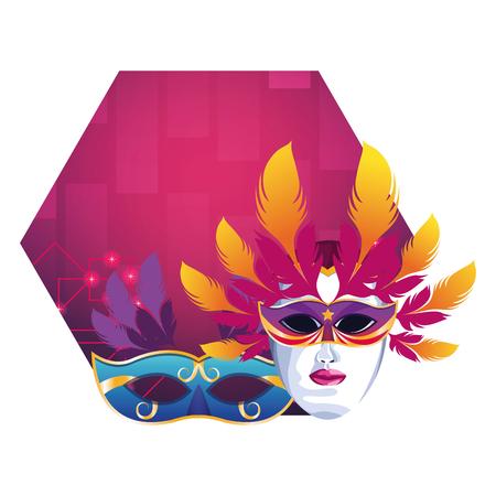 masks with feathers icon cartoon pop art background vector illustration graphic design Zdjęcie Seryjne - 122741897