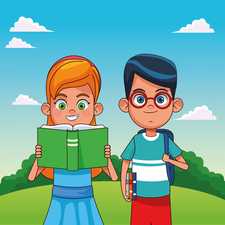 Kids with books in the park cartoons vector illustration graphic design