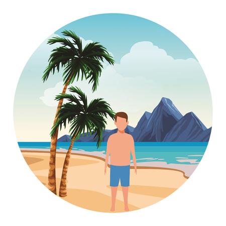 summer vacation man boy at beach cartoon vector illustration graphic design