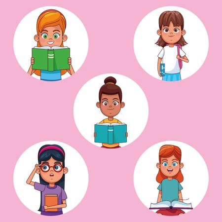 Kids reading books cartoons round icons set vector illustration graphic design 일러스트
