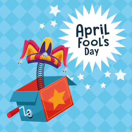 April fools day surpise box with stars cartoons vector illustration graphic design Ilustração