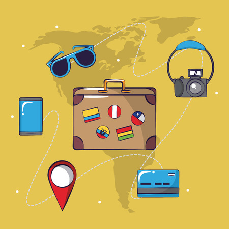 Traveling tourism exciting trip singlasses smartphone camera location sign suitcase collection card background vector illustration graphic design Иллюстрация