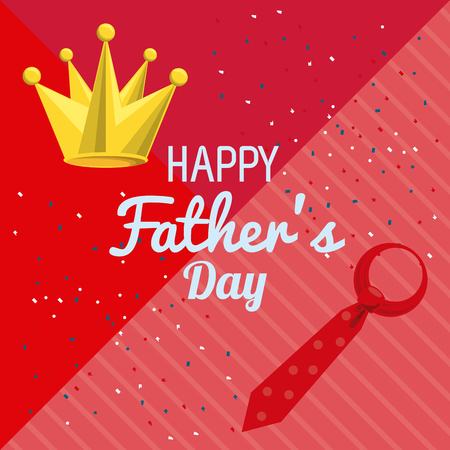Happy fathers day card with cute cartoons vector illustration graphic design Фото со стока - 122741953