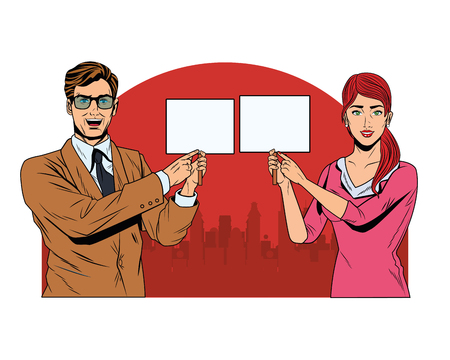 business couple with signboard avatar cartoon character cityscape silhouette vector illustration graphic design Illustration
