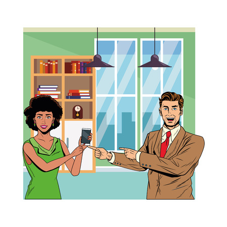business couple holding cellphone indoor office vector illustration graphic design