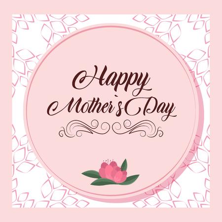 Happy mothers day pink card with flowers vector illustration graphic design Ilustração