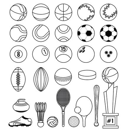 Balones deportivos fútbol fútbol tenis baloncesto tenis ping pong raqueta curling piedra trofeo fitness actividad física equipo colección blanco y negro vector ilustración diseño gráfico