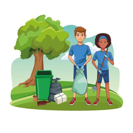 Voluntarios de limpieza de parques con bote de basura y bolsas de dibujos animados ilustración vectorial diseño gráfico