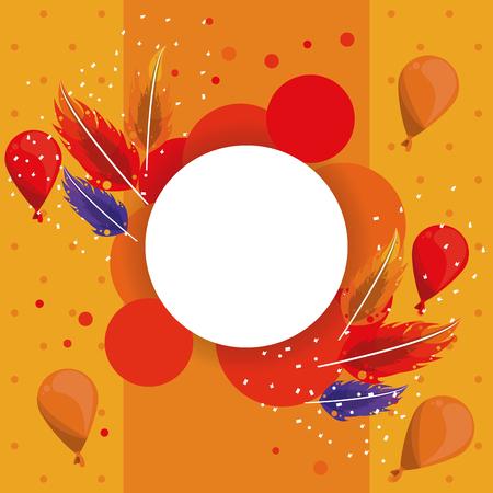 Carnival party round frame h celebration elements vector illustration graphic design Ilustração