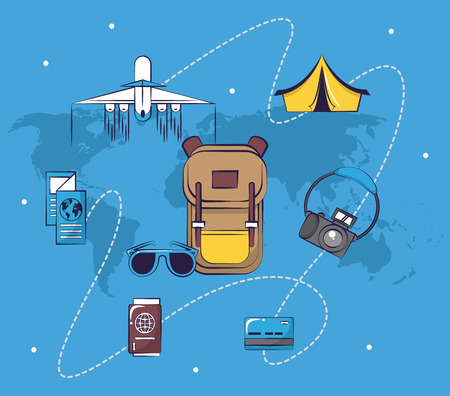 Traveling tourism exciting trip backpack sunglasses camping tent plane ticket passport collection card background vector illustration graphic design Ilustrace