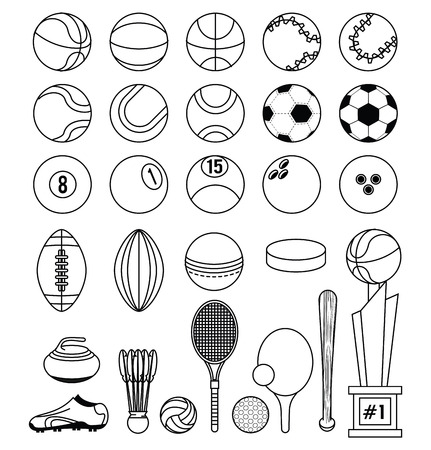 Sports balls soccer football tennis basketball tennis ping pong racket curling stone trophy fitness physical activity equipment collection black and white vector illustration graphic design