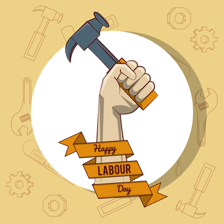 Happy labour day card with construction tool and ribbon banner vector illustration graphic design Zdjęcie Seryjne - 122742060