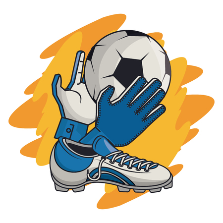 Soccer sport game equipment cartoons vector illustration graphic design