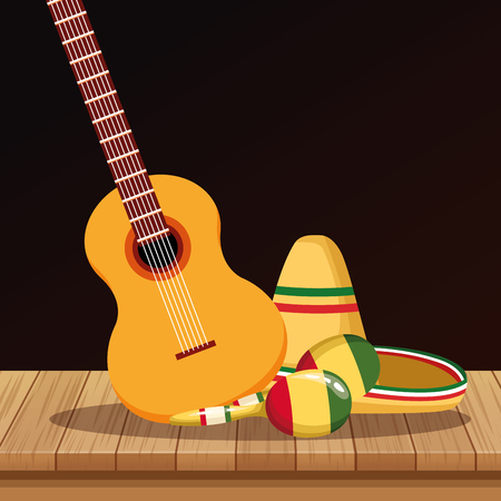 Mexican hat maracas and guitar on table cartoons vector illustration graphic design