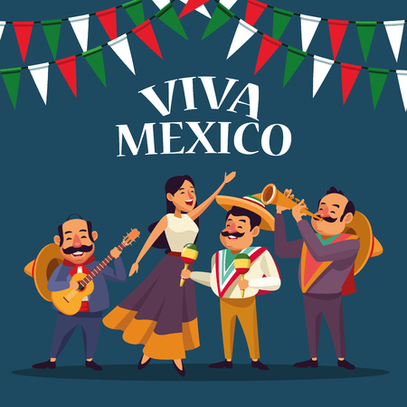 Viva mexico card mexicans in desert party cartoons vector digital image illustration