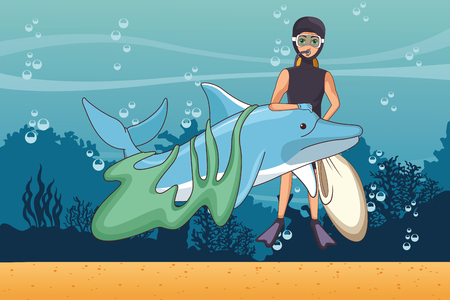 Sea cleaning volunteer with bag and dolphin vector illustration graphic design Illustration