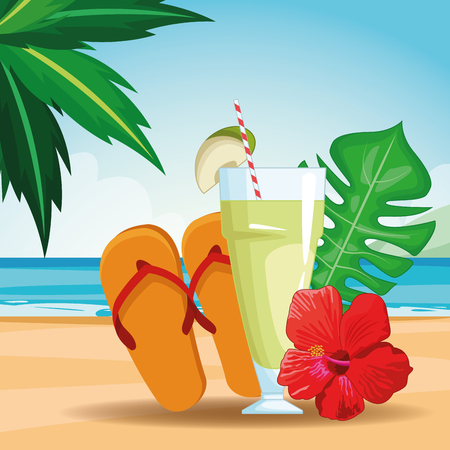 tropical drink with sandals beach landscape icon cartoon vector illustration graphic design