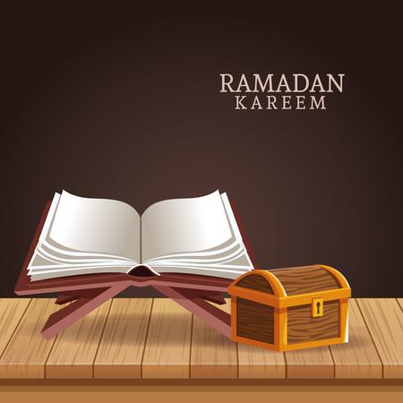 ramadan kareem with koran and chest vector illustration graphic design