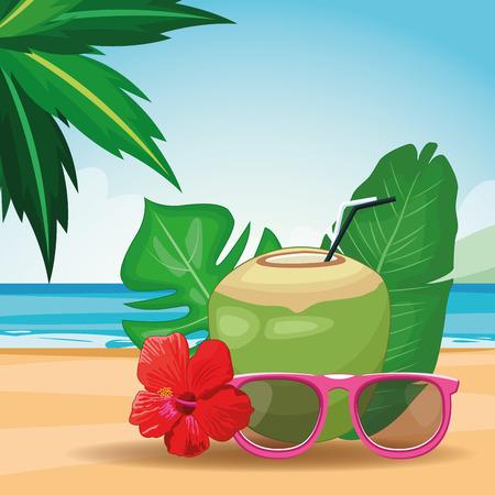 coconut drinks and sunglasses beach landscape icon cartoon vector illustration graphic design