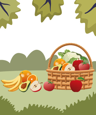 wicker basket with fruit and vegetables cartoon icons rural landscape vector illustration graphic design Vettoriali