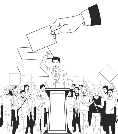 man making a speech and audience with signboard and voting avatar cartoon character vector illustration graphic design