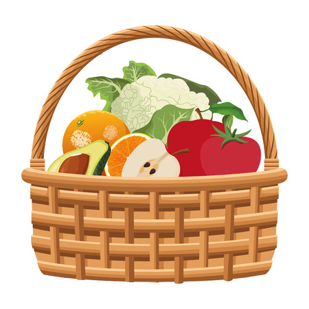 wicker basket with fruit and vegetables icon cartoon isolated vector illustration graphic design