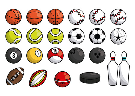 Sports balls equipment rugby football soccer tennis basketball pool bowling pins hockey puck collection banner vector illustration graphic design