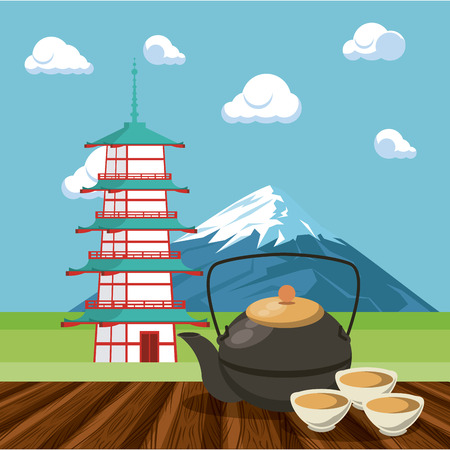 Japanese architecture in nature with tea pot and cups vector illustration graphic design