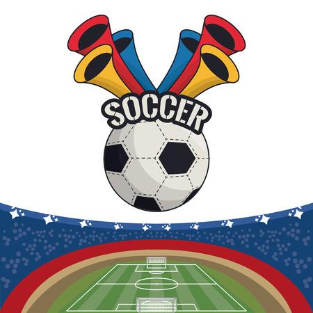 Soccer sport game card with emblem cartoon vector illustration graphic design