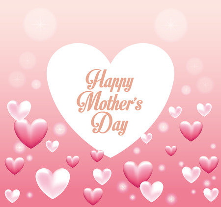 Happy mothers day card with pink hearts vector illustration graphic design Фото со стока - 122742240