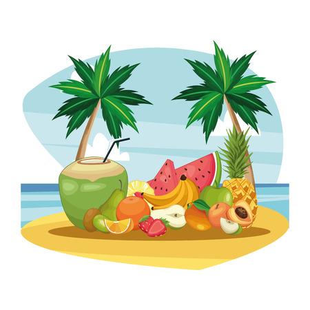 coconut drink and fruit beach landscape icon cartoon vector illustration graphic design