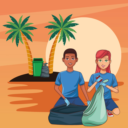 Teenagers with trash can cleaning the beach cartoon scenery vector illustration graphic design Ilustrace
