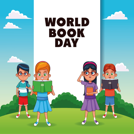 World book day card with kids in park cartoon vector illustration graphic design